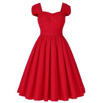 Vintage Puff Sleeve Ruched Pin Up Dress