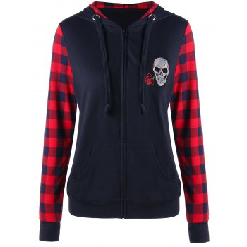 Skull Patched Plaid Insert Zip Up Hoodie