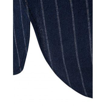 Slim Fit Vertical Stripe Casual Blazer - Bleu Cadette XL