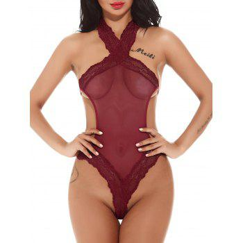 Tricot Halter Mesh Through Micro Teddy - Rouge S