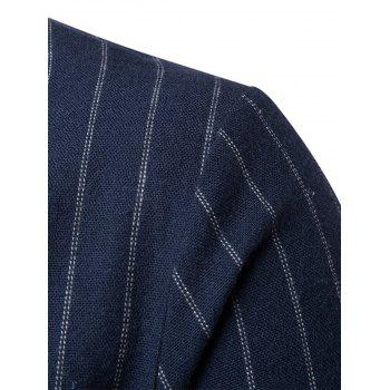 Slim Fit Vertical Stripe Casual Blazer - Bleu Cadette 2XL