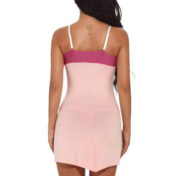 Color Block Cami Bodycon Mini-robe - ROSE PÂLE 2XL