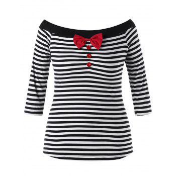 Plus Size Bowknot Embellished Striped Top