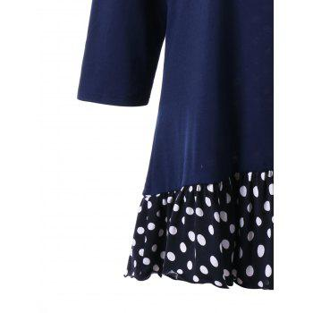 Plus Size Polka Dot Flounced Tunic Dress - CADETBLUE 2XL
