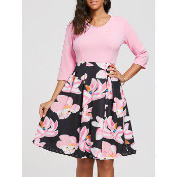 Floral Print Fit and Flare Dress with Pockets