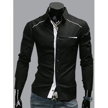 Edging Panel Pocket Long Sleeve Shirt