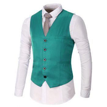 Faux Pocket Single Breasted Plain Waistcoat - GREEN 2XL