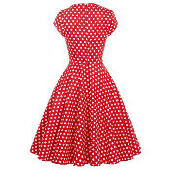 Vintage Polka Dot Pin Up Swing Dress - Rouge 2XL