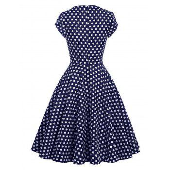 Vintage Polka Dot Pin Up Swing Dress - Bleu Violet M
