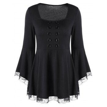 Double Breasted Flare Sleeve Peplum Top