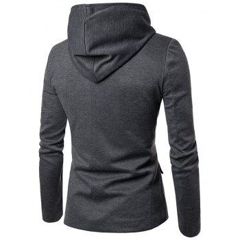 Poches à rabat Zip Up Casual Hooded Blazer - gris M