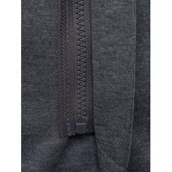 Flap Pockets Zip Up Casual Hooded Blazer - GRAY M