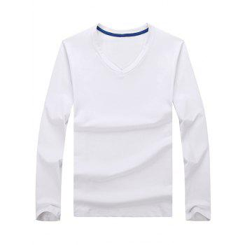 V Neck Long Sleeve Plain T-shirt