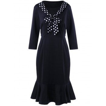 Polka Dot Trim Plus Size Memaid Dress
