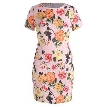 Plus Size Floral Bodycon Dress with Pockets