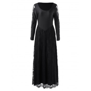 Lace Trim Long Sleeve Maxi Prom Dress - BLACK M