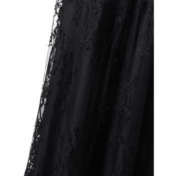 Lace Trim Long Sleeve Maxi Prom Dress - M M