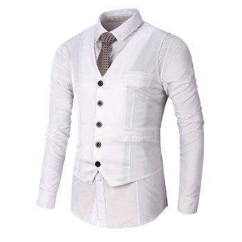 Faux Pocket Single Breasted Plain Waistcoat - WHITE WHITE