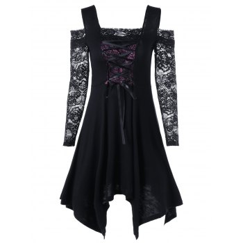 Cold Shoulder Lace Insert Mini Handkerchief Dress