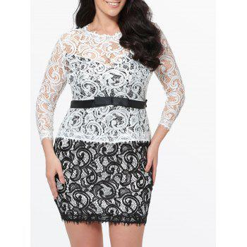 Plus Size Lace Bodycon Short Dress