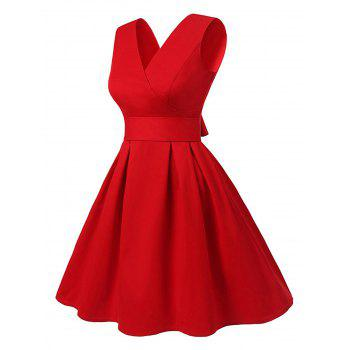 Vintage V Neck Cut Out Pin Up Dress - Rouge 2XL
