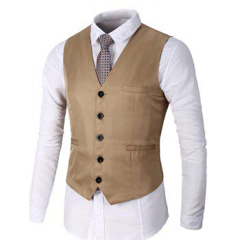 Faux Pocket Single Breasted Plain Waistcoat - KHAKI L