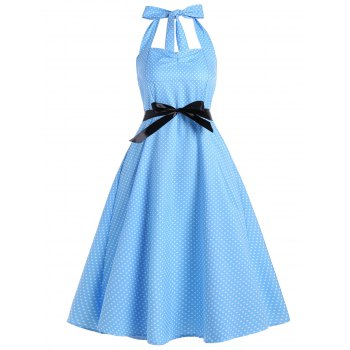 Polka Dot Halter Empire Waist Vintage Dress