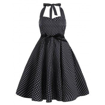Polka Dot Plus Size Halter Vintage Dress