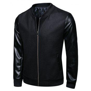PU Leather Panel Woolen Stand Collar Jacket