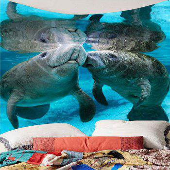 Manatee Print Waterproof Wall Art Tapestry - COLORMIX W59 INCH * L59 INCH