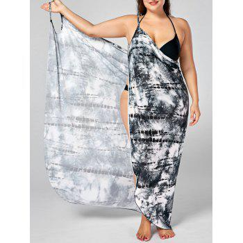 Tie-Dye Plus Size Cover Up Wrap Dress