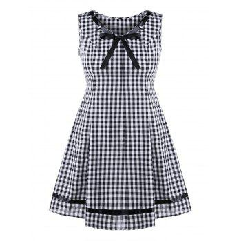 Plus Size Plaid Sleeveless Swing Dress