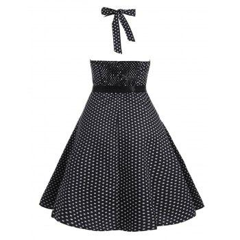 Polka Dot Plus Size Halter Vintage Dress - Noir 3XL