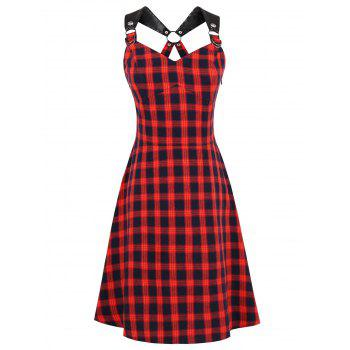 PU Leather Strap Tartan Pin Up Dress