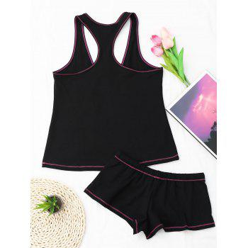Racerback Drawstring Cotton Tank Pajamas Set - BLACK BLACK
