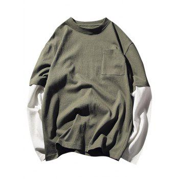 Crew Neck Pocket Faux Twinset Tee