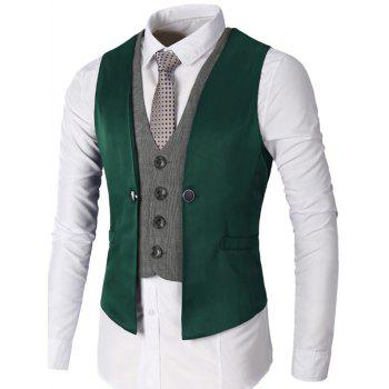 Two Tone Single Breasted Faux Twinset Waistcoat - GREEN GREEN