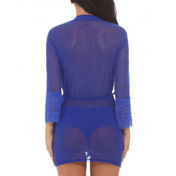 See Through Mesh Kimono Wrap Dress - BLUE BLUE