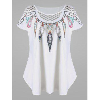 Plus Size Hollow Out Feather Print Top