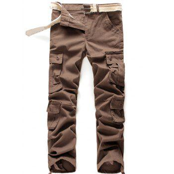 Zipper Fly Button Flap Pockets Cargo Pants
