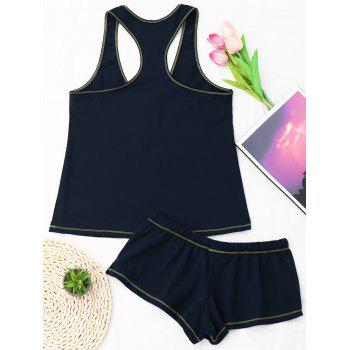 Racerback Drawstring Cotton Tank Pajamas Set - ONE SIZE ONE SIZE