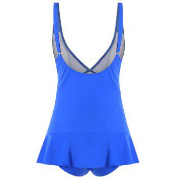 Ruched Plunging One-piece Swimwear - BLUE BLUE