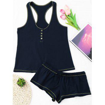 Racerback Drawstring Cotton Tank Pajamas Set