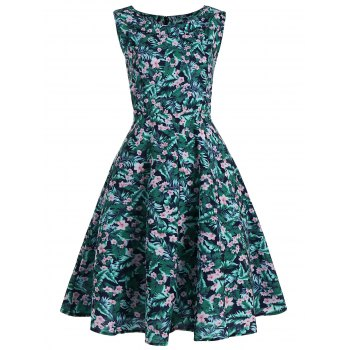 Sleeveless Floral Leaf Printed Vintage Dress