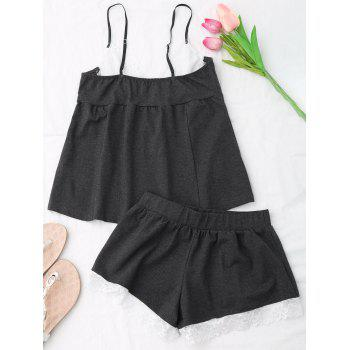 Lace Insert Cami Cotton Pajamas Suit - ONE SIZE ONE SIZE