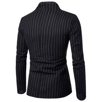 Slim Fit Vertical Stripe Casual Blazer - BLACK XL