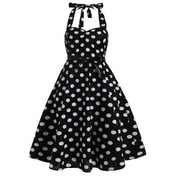 Polka Dot Plus Size Halter 50s Dress