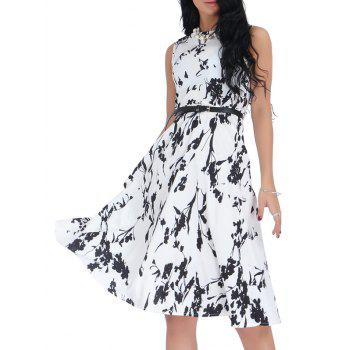 Floral Monochrome Belted Sleeveless Dress