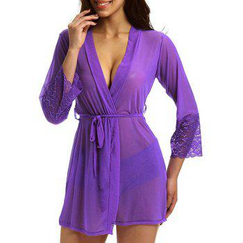 See Through Mesh Kimono Wrap Dress - M M