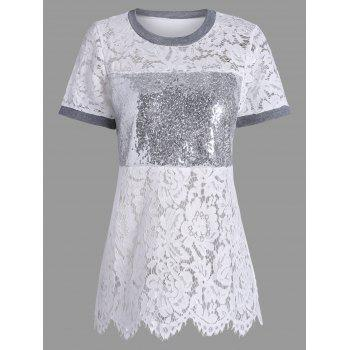 Sequin Short Sleeve Lace T-shirt